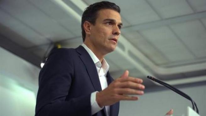 Pedro Sanchez, en rueda de prensa.