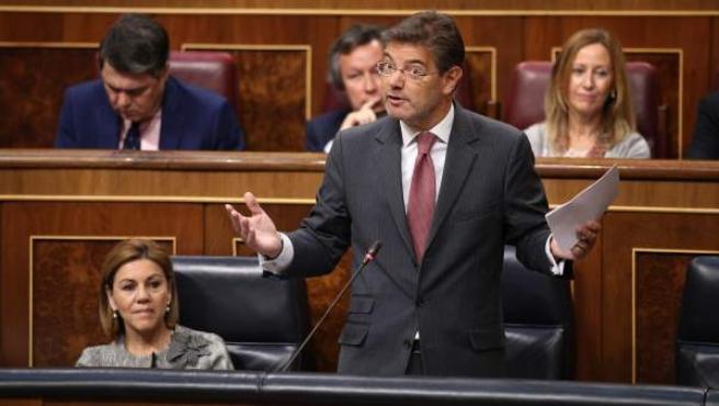 Rafael Catalá, ministo de Justicia, durante una sesión de control al Gobierno en el Congreso.