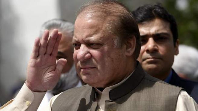 Nawaz Sharif, ya ex primer ministro de Pakistán en una rueda de prensa.