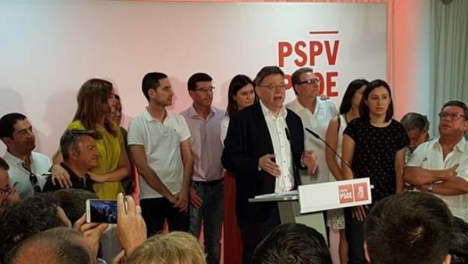Ximo Puig tras ganar las primarias