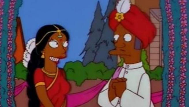 Imagen del capítulo en el que el personaje de Los Simpsons Apu Nahasapeemapetilon se casa con Manjula.