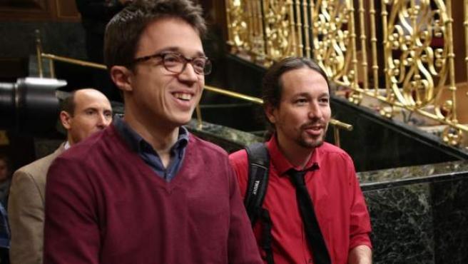 Pablo Iglesias e Íñigo Errejón, en el Congreso de los Diputados.