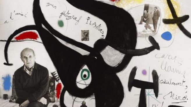 Fotografía de Planas Montanya pintada y dedicada por Joan Miró.
