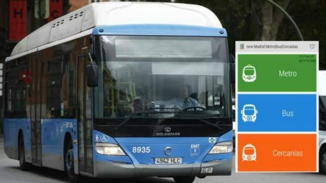 Autobús de Madrid y una captura de la aplicación Madrid Metro|Bus|Cercanías