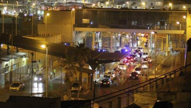 Vista del paso fronterizo del Tarajal de Ceuta con Marruecos.