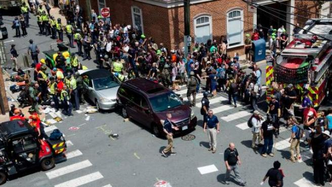 Lugar donde ha ocurrido el atropello masivo durante la marcha supremacista en Charlottesville.