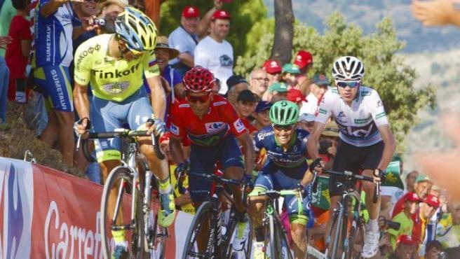Imagen de los favoritos en una de las etapas de La Vuelta