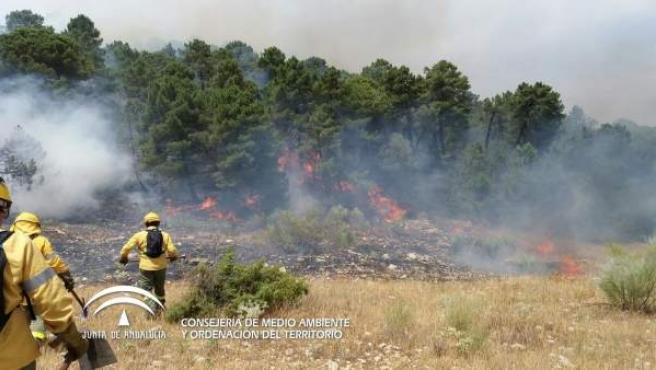Incendio en Segura de la Sierra a principios de agosto