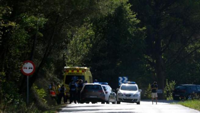 Dispositivo policial en Subirats, donde los Mossos han abatido a un hombre, presunto autor del atentado de Barcelona.