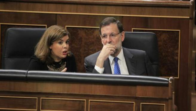 Soraya Sáenz de Santamaría y Mariano Rajoy, en el Congreso.