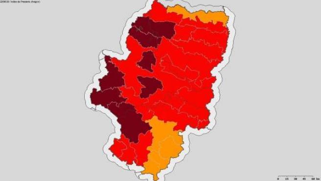 Mapa de alerta roja + por riego de incendios en Aragón