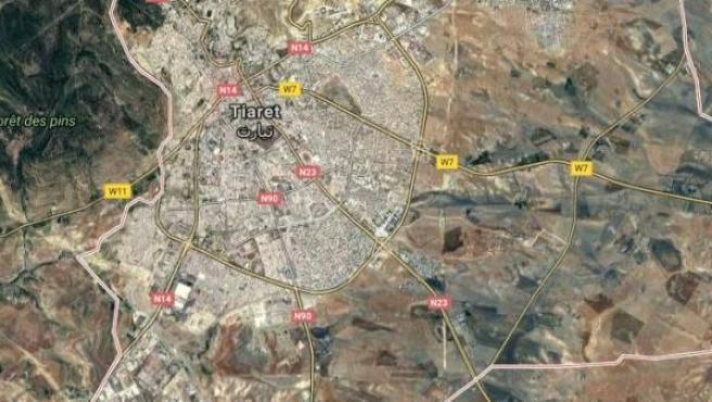 Imagen por satélite de la provincia de Tiaret, en Argelia.