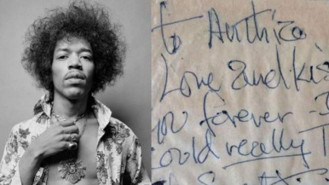 Jimi Hendrix la nota de amor que escribió a una joven en 1967.
