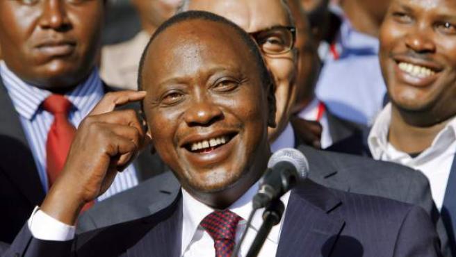 Uhuru Kenyatta tras ser elegido nuevo presidente de Kenia.