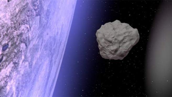 Recreación de un asteroide a punto de impactar con la Tierra.