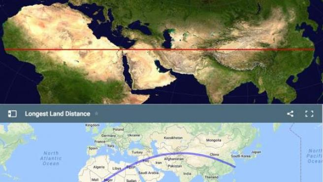 Mapas que muestran la distancia más larga que se puede recorrer en línea recta en la Tierra.