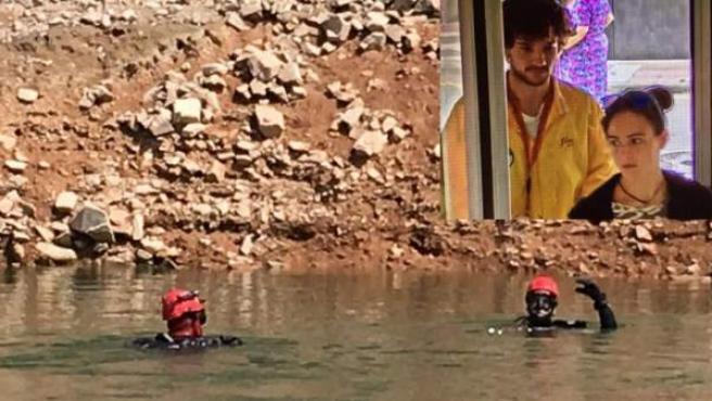 Tareas de búsqueda en el pantano de Susqueda de los dos jóvenes desaparecidos (arriba, a la derecha).