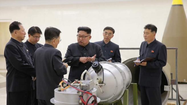 Kim Jong-un, líder supremo de Corea del Norte, en una imagen difundida por el régimen.