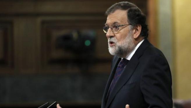 El presidente del Gobierno, Mariano Rajoy, durante su comparecencia el pleno extraordinario del Congreso de los Diputados para dar explicaciones de su declaración ante el tribunal del juicio del caso Gürtel.