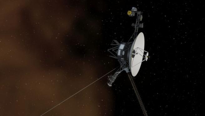 Ilustración de la Voyager 1, la sonda de la NASA que ha logrado cruzar la frontera del sistema solar.