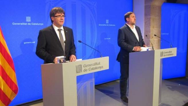 Imagen Carles Puigdemont y Oriol Junqueras.