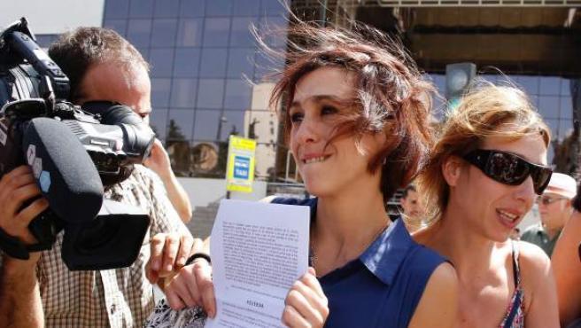 Juana Rivas, a su salida de los juzgados de Granada este martes.