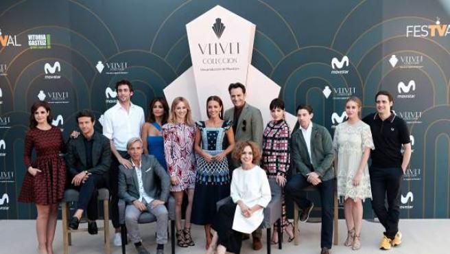 Los actores de la serie 'Velvet Colección' durante la presentación de la nueva temporada en el Festival de Televisión de Vitoria FesTVal.