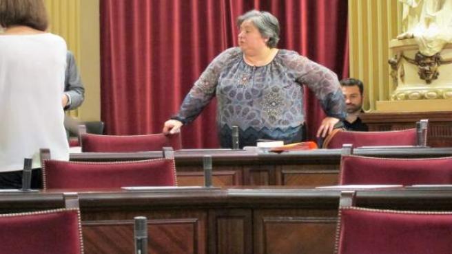 Montserrat Seijas desde su escaño en el pleno del Parlament