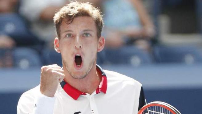 Pablo Carreño celebra un punto en su partido de cuartos de final del US Open.