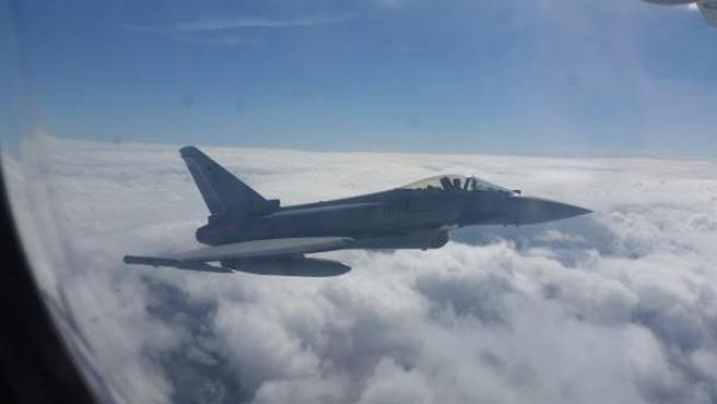 Un avión de combate Eurofighter.