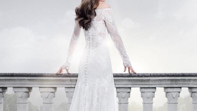 Imagen que muestra a la actriz Dakota Johnson vestida con traje de novia, en el cartel promocional de Cincuenta sombras liberadas.