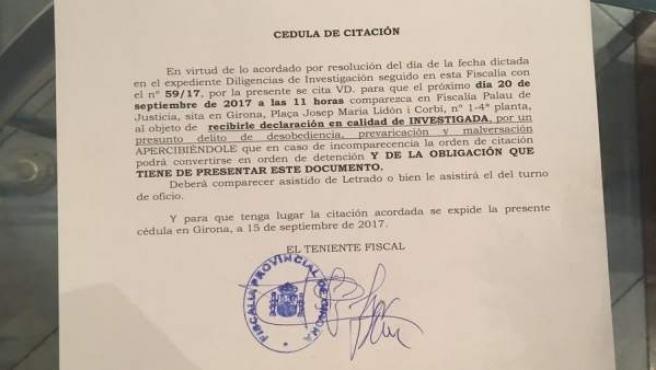 Citación de Fiscalía a la alcaldesa de Girona, Marta Madrenas