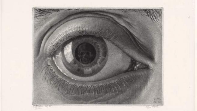 Maurits Cornelis Escher. 'Ojo'. 1946. Grabado a media tinta, 14,1x19,8 cm. The Escher Foundation Collection All M.C. Escher works © 2017 The M.C. Escher Company
