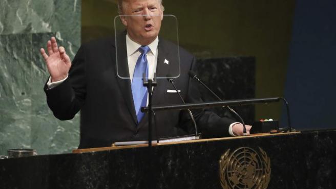 Donald J. Trump pronuncia un discurso durante la Asamblea General de la ONU.