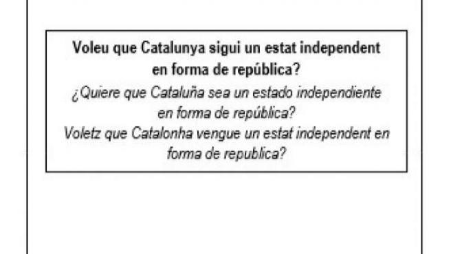 Modelo de papeleta para el referéndum del 1-O.