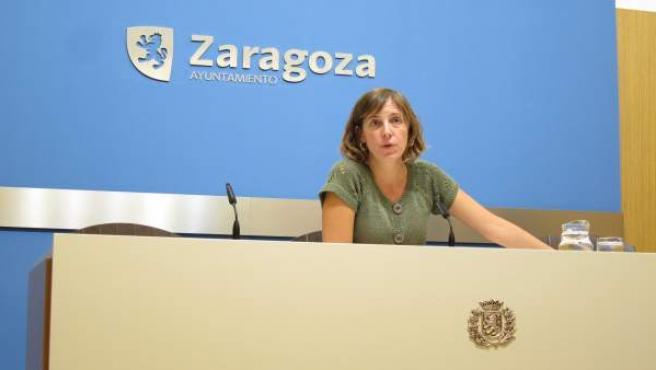 Teresa Artigas (ZEC), en rueda de prensa hoy en el Ayuntamiento
