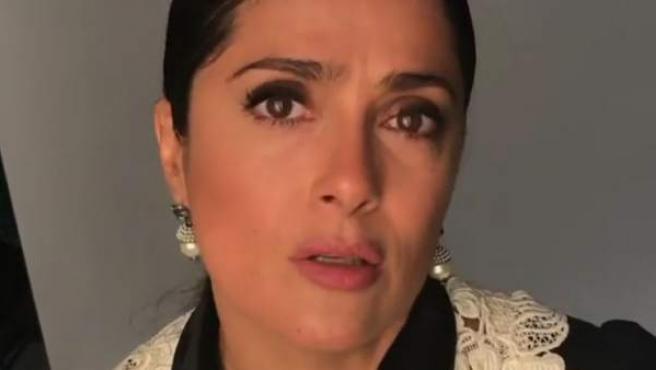 La actriz Salma Hayek, durante su petición de fondos.