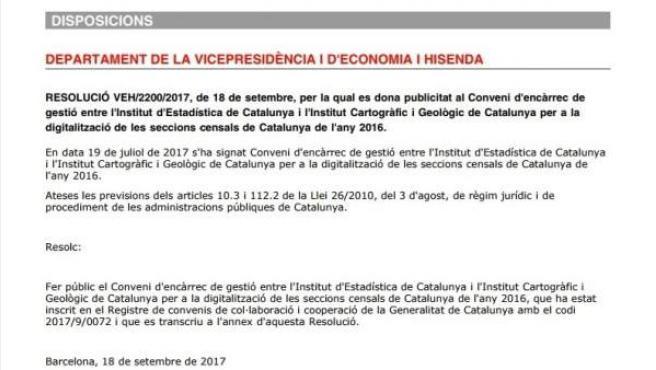Imagen del papel con el encargo para actualizar y digitalizar las secciones censales de Catalunya.