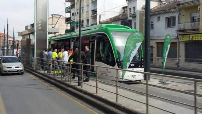 Imagen del metro de Granada durante su fase de pruebas.