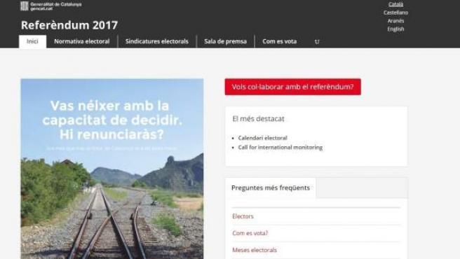 Web del referéndum del 1-O.