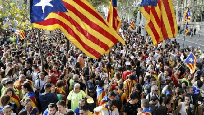 Imagen de una protesta separatista en Barcelona esta semana.