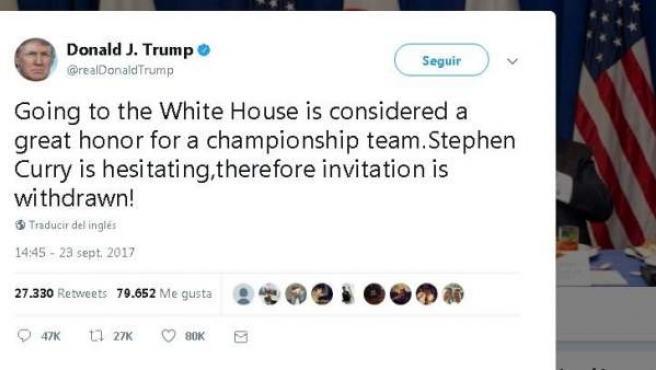 Tuit en el que Donald Trump retira su invitación a los Golden State Warriors.