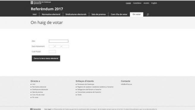 Falsa web del referéndum garantiespelreferendum.cat.