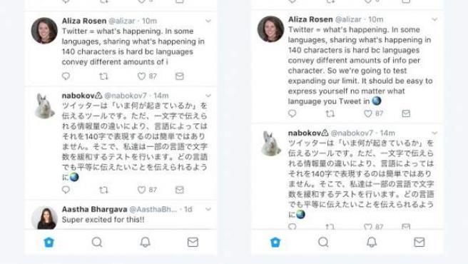 Twitter con mensajes de 140 caracteres y de 280, en una imagen publicada en el blog oficial de la red social.