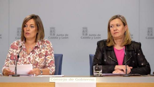 Milagros Marcos y Pilar del Olmo tras el Consejo de Gobierno