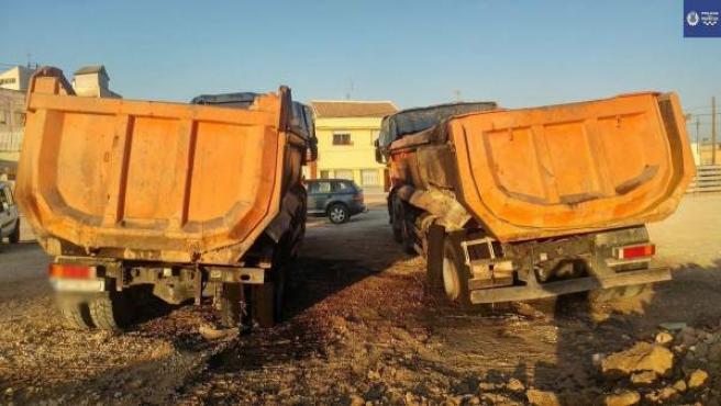 Incendio De Dos Camiones En Las Obras Del AVE,En La Senda De Los Garres