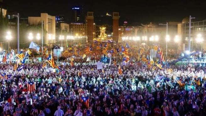 Imagen del mitin de campaña de los secesionistas antes del referéndum del 1-O.