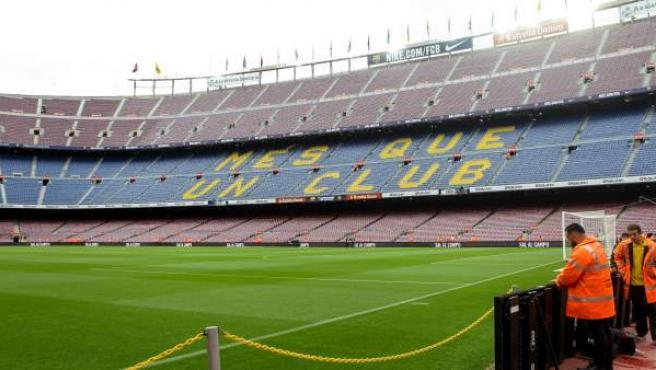 El Camp Nou, vacío antes del Barça-Las Palmas.
