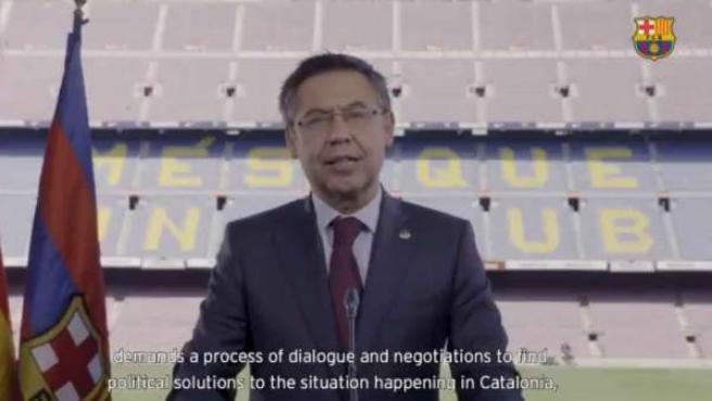 Josep Maria Bartomeu, presidente del Barça, en un discurso sobre Cataluña.