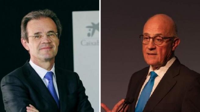 Los presidente de Caixabank (Jordi Gual, izq) y de Sabadell (Josep Oliu, dcha).